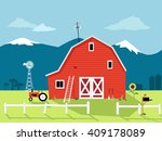 Country Scene With A Red Barn ...