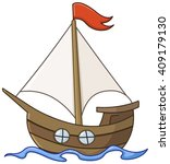 sailboat cartoon | Shutterstock .eps vector #409179130