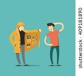 dealer in hat and coat with... | Shutterstock .eps vector #409181890