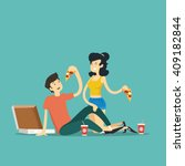 man and woman eating pizza.... | Shutterstock .eps vector #409182844