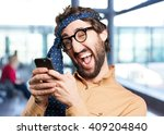 crazy man with mobile phone... | Shutterstock . vector #409204840