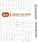 thin line abstract logo mega... | Shutterstock .eps vector #409209379