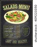 salads menu list chalkboard... | Shutterstock .eps vector #409223350