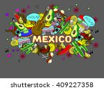 mexico line art design vector... | Shutterstock .eps vector #409227358