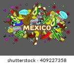 mexico line art design vector... | Shutterstock .eps vector #409227358