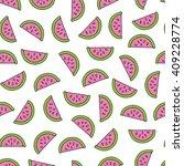watermelon doodle seamless... | Shutterstock .eps vector #409228774