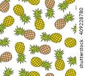 pineapple doodle seamless... | Shutterstock .eps vector #409228780