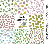 summer seamless pattern set | Shutterstock .eps vector #409228786