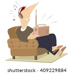 smiling man sits in an armchair ... | Shutterstock .eps vector #409229884