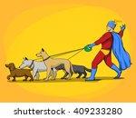 superhero man and dogs cartoon... | Shutterstock . vector #409233280