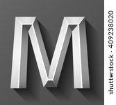metal font with bevel  letter m ... | Shutterstock .eps vector #409238020