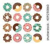 vector donut set. vector donut... | Shutterstock .eps vector #409250860