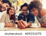 group of friends sitting... | Shutterstock . vector #409251070