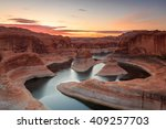 Sunrise above Lake Powell, Utah, USA. - stock photo