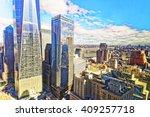 Aerial View On Lower Manhattan...
