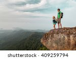couple in love standing on the... | Shutterstock . vector #409259794
