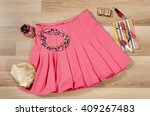 pink pleated skirt and... | Shutterstock . vector #409267483