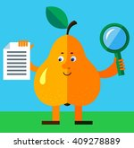 pear with magnifier glass and... | Shutterstock .eps vector #409278889