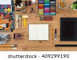 painter workplace top view.... | Shutterstock . vector #409299190