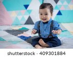 cute 11 month old mixed race... | Shutterstock . vector #409301884