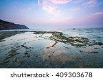 wonderful dawn over large rock... | Shutterstock . vector #409303678