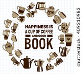 big vector set with coffee... | Shutterstock .eps vector #409310983