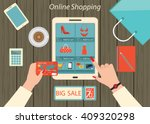 online shopping  businesswoman... | Shutterstock .eps vector #409320298