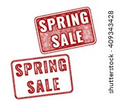 two red realistic spring sale... | Shutterstock . vector #409343428