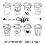 coffee to go paper cups hand... | Shutterstock .eps vector #409357084
