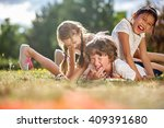 happy children playing and... | Shutterstock . vector #409391680