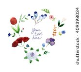 vector watercolor floral heart  ... | Shutterstock .eps vector #409398034