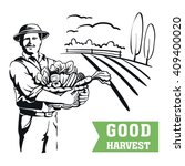 farmer with a basket of... | Shutterstock .eps vector #409400020