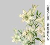 lily flower watercolor... | Shutterstock . vector #409400884
