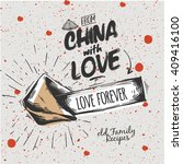 chinese fortune cookie   love... | Shutterstock .eps vector #409416100