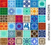 set of glazed ceramic tiles.... | Shutterstock .eps vector #409426096