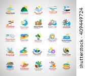summer icons set isolated on... | Shutterstock .eps vector #409449724
