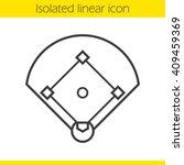 baseball field linear icon.... | Shutterstock .eps vector #409459369
