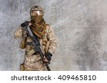 modern soldier with rifle | Shutterstock . vector #409465810
