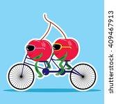 cherries on bicycle vector... | Shutterstock .eps vector #409467913