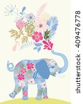 Patterned Elephant With Bunch...