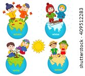 children and four seasons on... | Shutterstock .eps vector #409512283