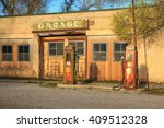 old service station in rural... | Shutterstock . vector #409512328