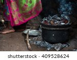preparing the food in african... | Shutterstock . vector #409528624