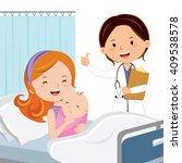 maternity ward. mother with... | Shutterstock .eps vector #409538578