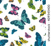 vector butterflies pattern.... | Shutterstock .eps vector #409545400