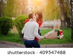 marriage proposal. kissed girl... | Shutterstock . vector #409547488