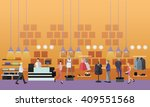 people shopping in a mall...   Shutterstock .eps vector #409551568