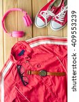 travel clothing accessories... | Shutterstock . vector #409553239