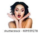 elegant woman model with makeup ... | Shutterstock . vector #409559278