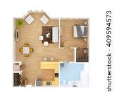 cad floor plan top view. 1... | Shutterstock . vector #409594573